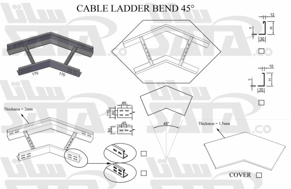 CABLE LADDER BEND 45º
